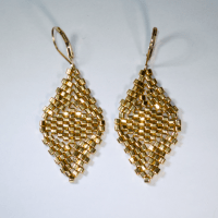 Diamond Cube Earrings - 24K Gold