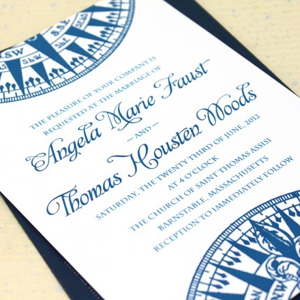 Nautical Wedding Invitation   Thermography Wedding Invitation   Ticket  Invitation Template