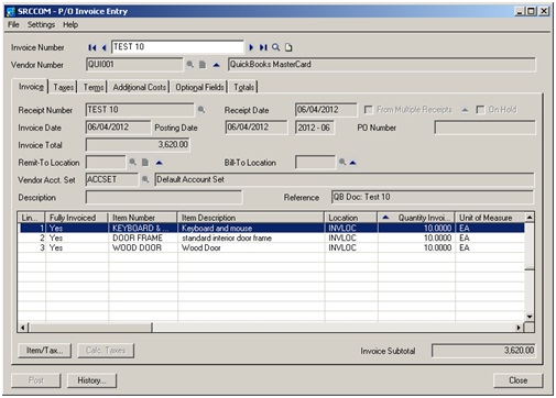 Migration of Purchase Invoices from QuickBooks to Sage 300 \u2013 Sage