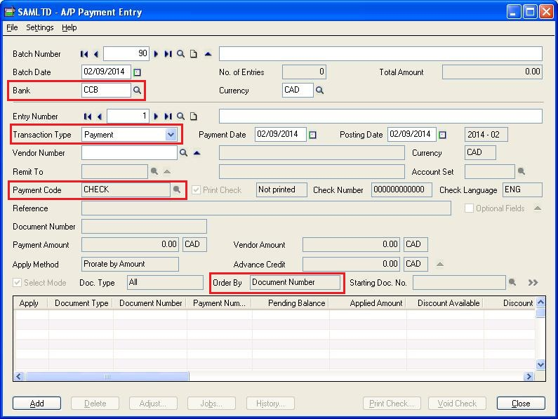 Default Settings for Accounts Payable Payments in Sage 300 ERP