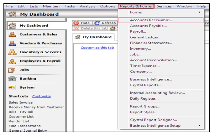 How to compare Accounts Receivables Report from Sage 50 US