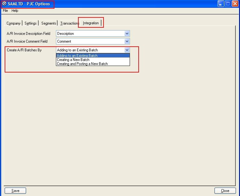 Sage 300 PJC \u2013 Option to default Create AR Invoice Batch By \u2013 Sage