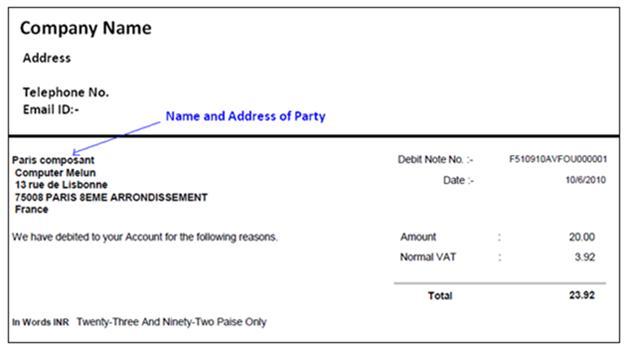 ... Note Form Sage ERP X3 Reports U2013 India Specific Reports U2013 Part  II U2013 Sage X3   Credit ...  Debit Note Form