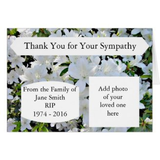 Sympathy Thank You Cards - Unique Photographic Cards, Plus Sample