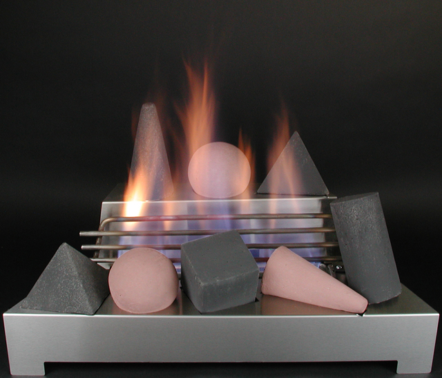 Ventless Gas Fireplace With Logs Shapes Glass