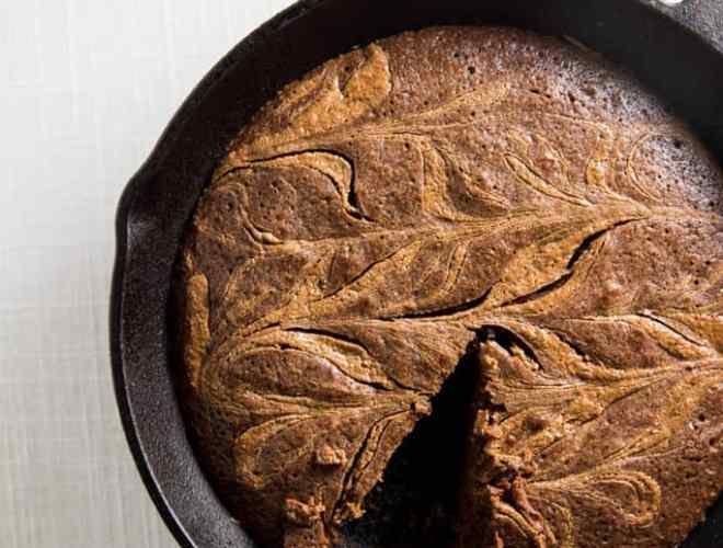 cast iron almond butter swirl brownie