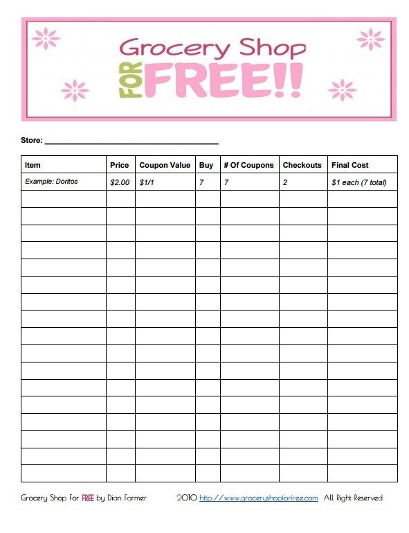 FREE Printable Coupon Grocery Shopping List!