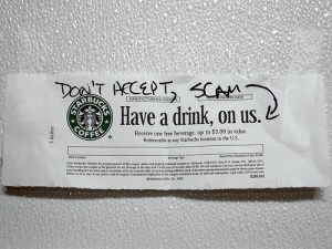 Fraudulent Starbucks Coupon