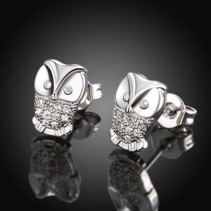 White Gold Plated Owl Studded Earrings Just $8.99! Down From $99.99! Ships FREE!