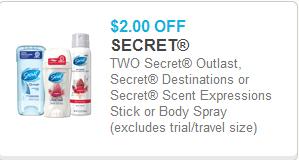 Secret Deodorant Coupon