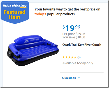 Walmart Values of the Day:Ozark Trail Kerr River Couch is $19.96 and a PalmBeach Necklace is $20.24!