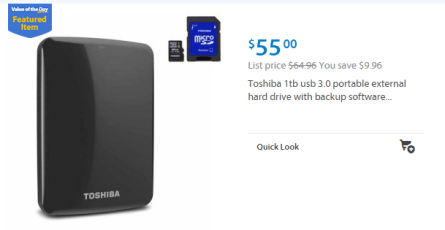 Walmart Values of the Day: Toshiba 1TB Hard Drive for $55 HP Stream Laptop for $215!