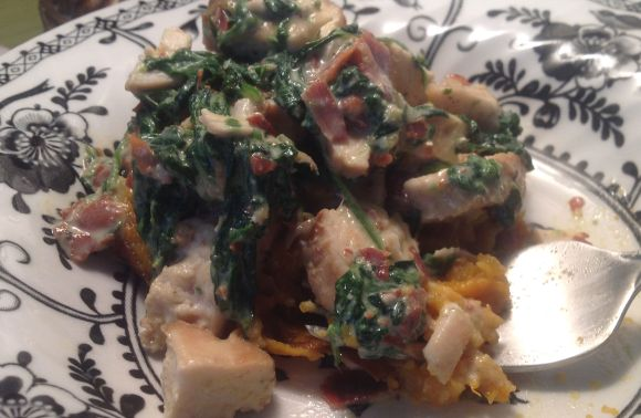 GymTato sweet potatoe, chicken, prosciutto, spinach and tahini spread
