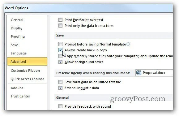 Make MS Word Create Automatic Backups