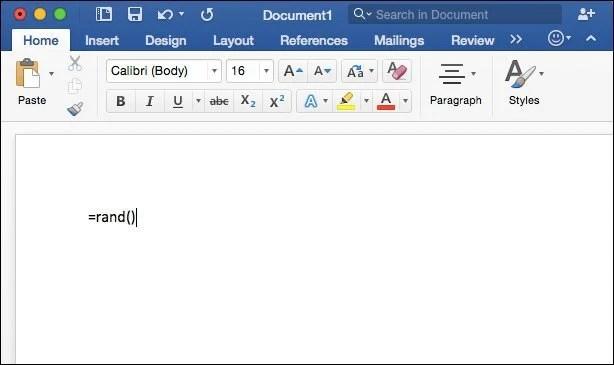 Microsoft Word for Mac 2016 Tip Generate Random Text