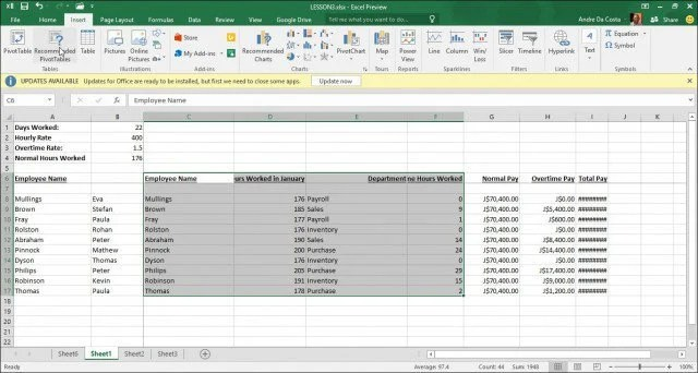 How to create a Pivot Table in Excel 2016 - pivot table in excel