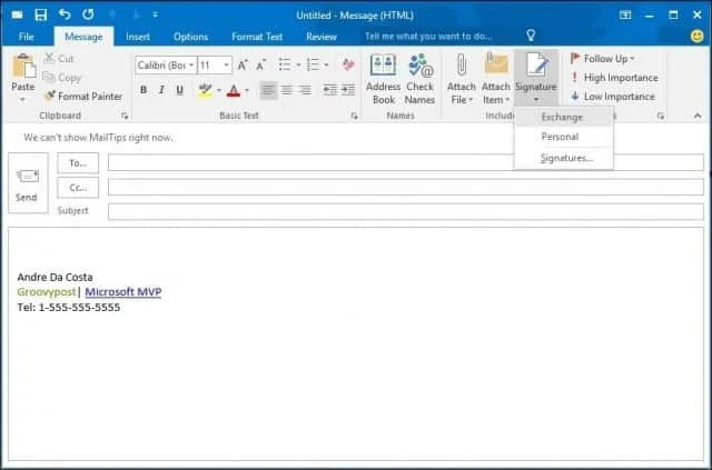 Outlook 2016 How To Create and Use a Signature