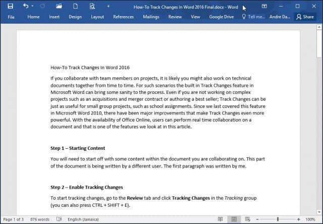 How to Track Changes in Word 2016 Documents