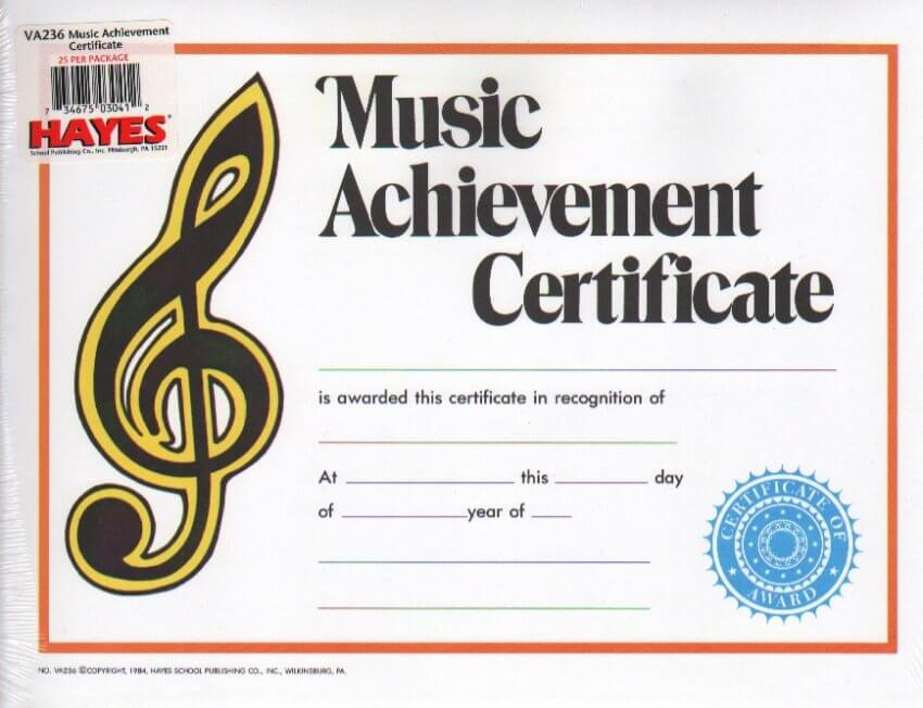 Groth Music Company - Music Achievement Certificate
