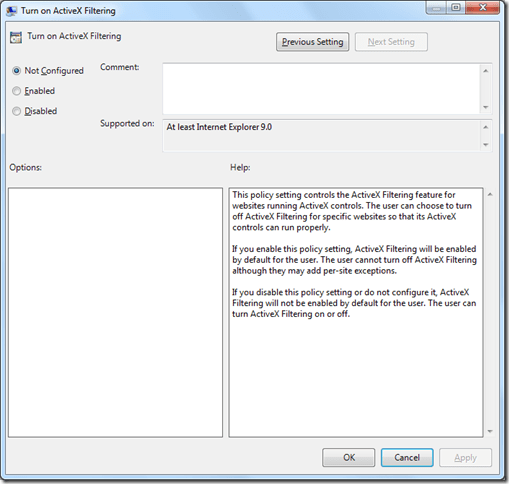 Turn on ActiveX Filtering