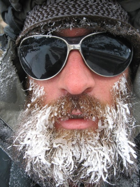 Don't let your beard freeze liek this poor fellow. Use a beanie beard.