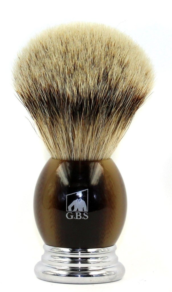 Photo of the badger bristle shaving brush.