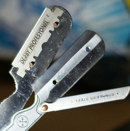Close up of the straight razor.