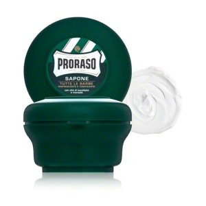 A photo of shaving soap by Proraso.