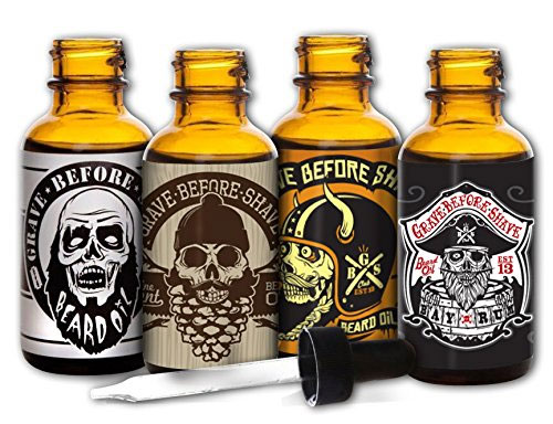 A photo ofteh Grave Before Shave beard oil 4 pack.