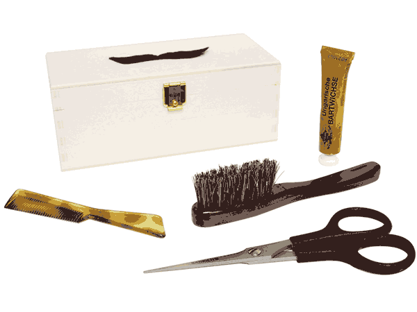 Image of a mustache grooming kit.