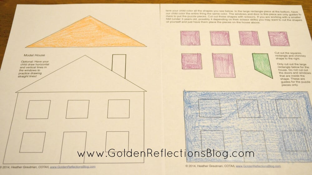 My House is Made Of Shapes Puzzle Printable Packet Pre-writing - horizontal writing paper