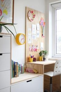 DIY plywood kid's desk area and IKEA hack: Ez's bedroom ...