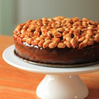 Caramel-peanut-topped brownie cake