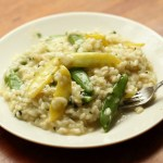 Risotto with sugar snaps ans snow peas