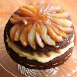 Gingerbread Guinness cake with poached pears