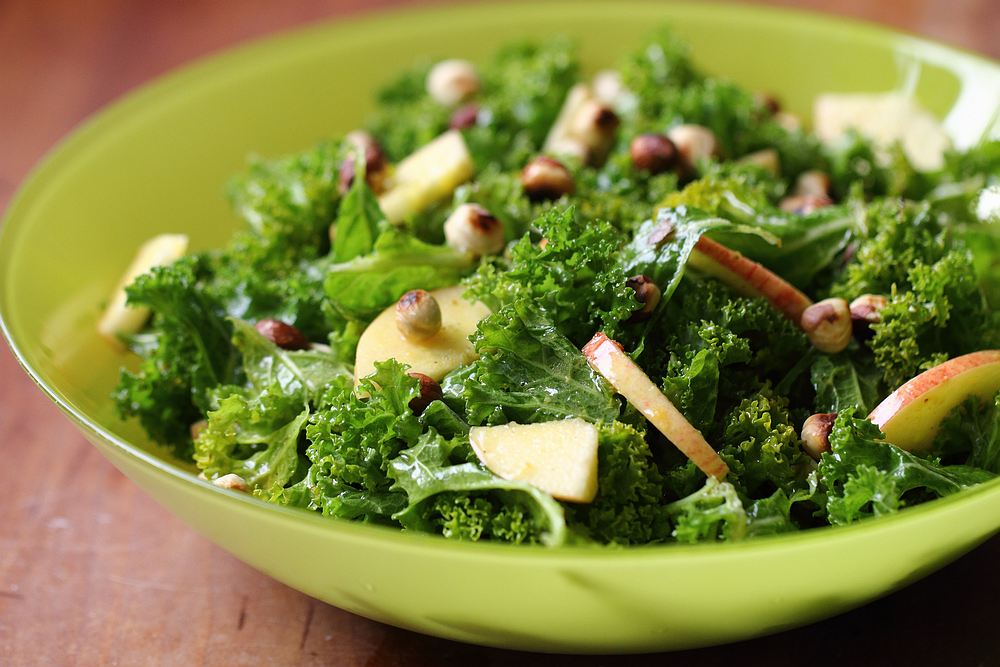 Kale salad with orange vinaigrette & community gardening
