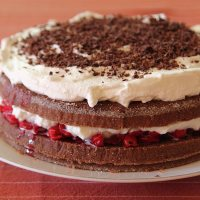 Chocolate and sour cherry birthday cake