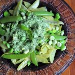 Broad beans and snow peas salad