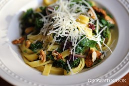 Tagliatelle with chard, kale, currants, walnuts and brown butter