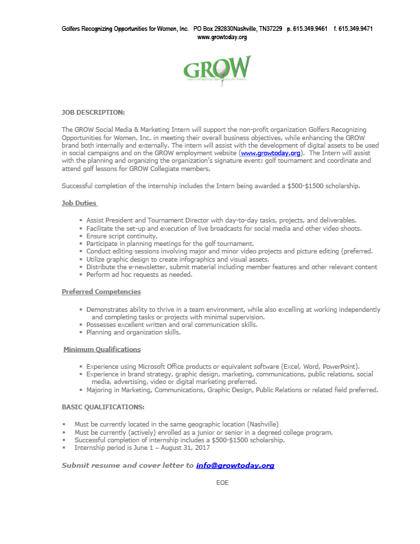 GROW INTERN JOB DESCRIPTION W LOGOjpg - Office Intern Job Description