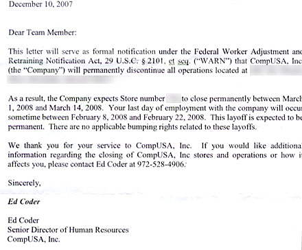 Dear insert name You\u0027re fired - Gruntled Employees - employee lay off letter