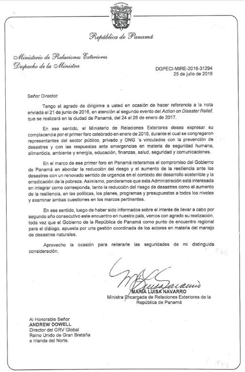 GRV Global - Action on Disaster Relief II - Letter of Support - air force recommendation letter sample