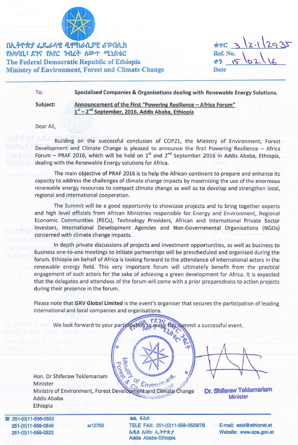 GRV Global - Powering Resilience - Official Letter - official letter