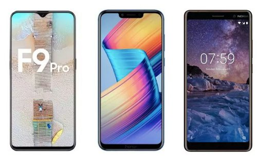 OPPO F9 Pro, Honor Play, Nokia 7 Plus / fot. MySmartPrice