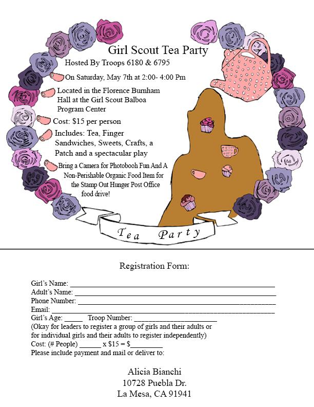 Tea Party Invitation Sunnytrails Girl Scout Service Unit