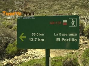 Detalle cartelería en Siete Cañadas