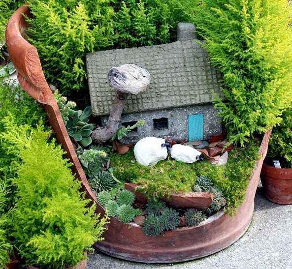 Come creare una decorazione da giardino con un vaso rotto - Come decorare il giardino ...
