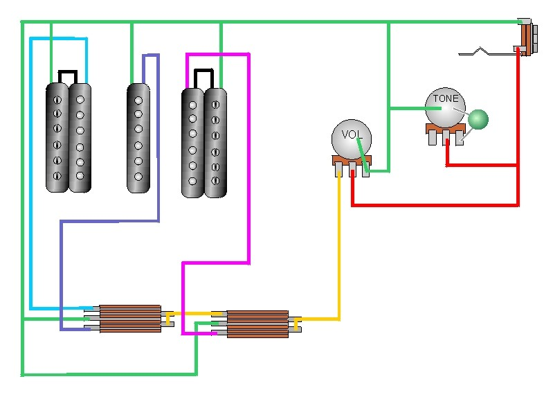 2 double coil humbuckers 1 volume 1 tone 5 way import switch wiring rh wiring radtour co 3 Wire Switch Wiring Diagram 3-Way Switch Wiring Diagram