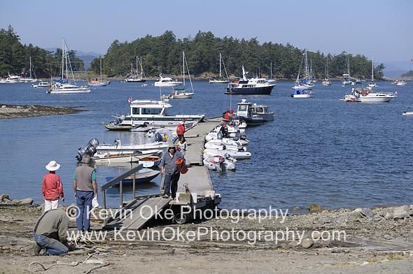 Boats in Winter Cove, Saturna Island Lamb BBQ