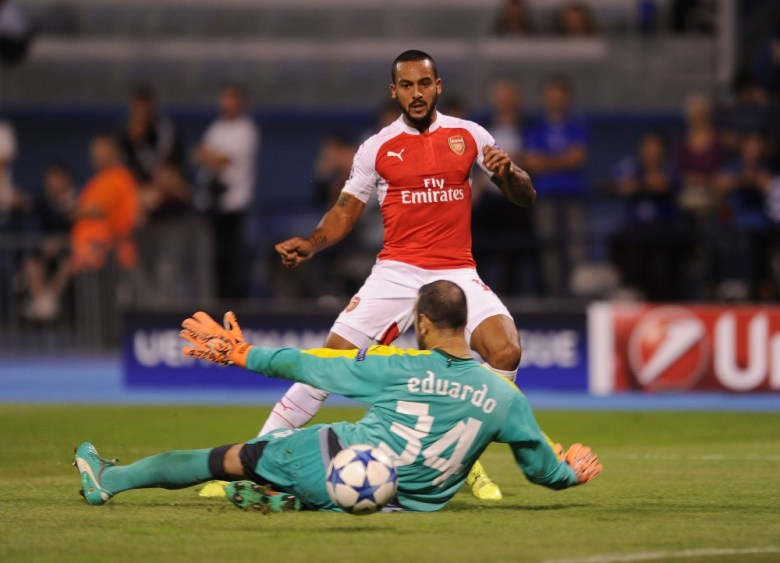 Theo scores a consolation goal